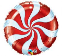 "Christmas Candy Swirl Red Foil Balloon (9"" Air-Fill) 1pc"